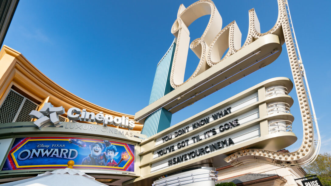 Cinepolis Bay Theatre, closed due to COVID with a #SaveYourCinema sign