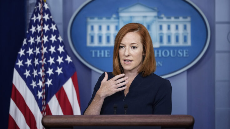 White House Press Secretary Jen Psaki speaks during the daily press briefing at the White House.