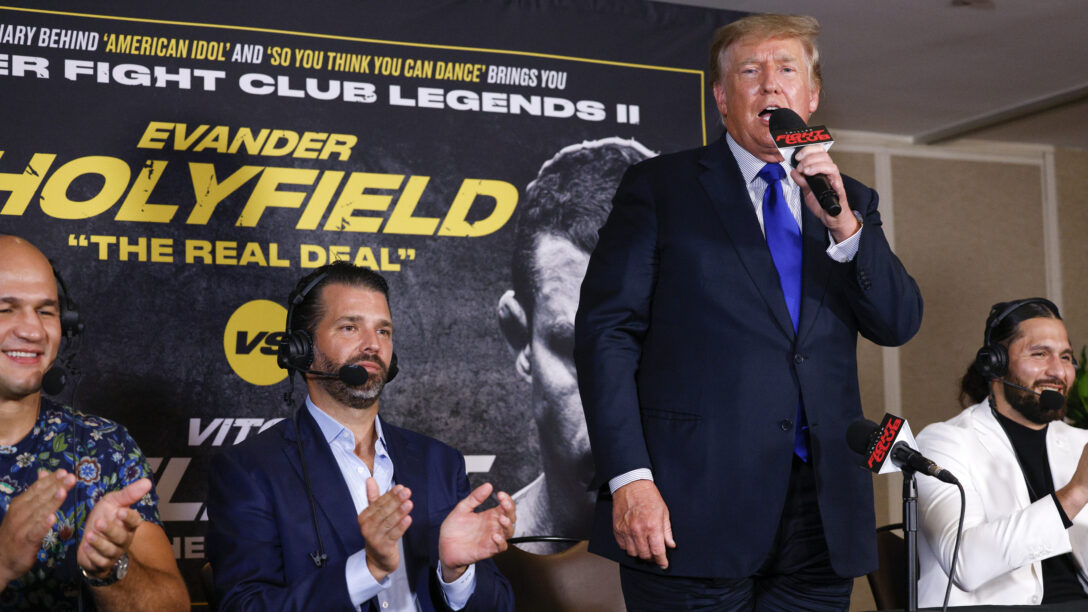 Donald Trump at the Evander Holyfield fight