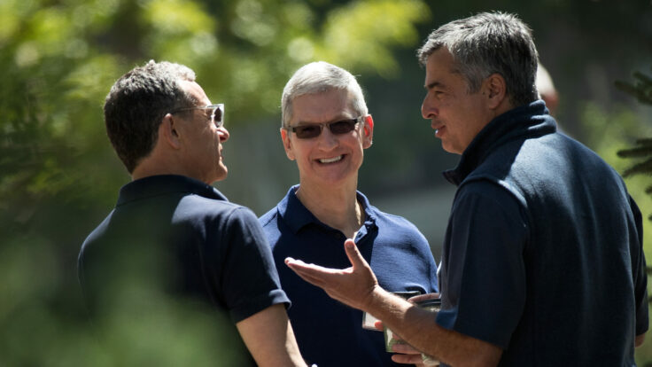 Bob Iger, Tim Cook, and Eddy Cue at Sun Valley
